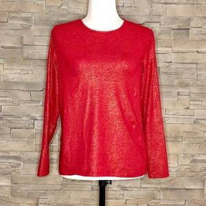 Lands' End red top with gold flecks